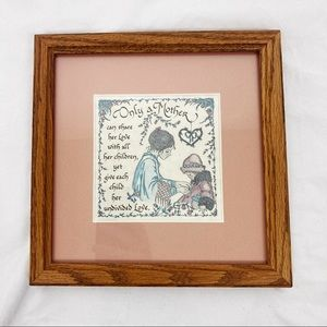 Vintage wall art Only a Mother gift cottagecore